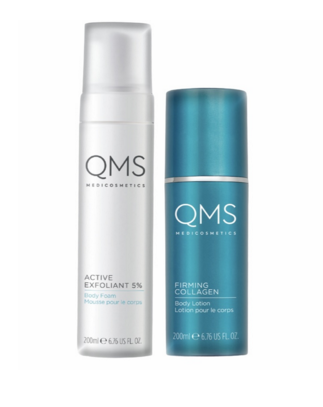 qms active exfoliant 5% body foam & firming collagen body lotion duo pack